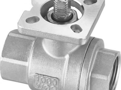 304DN15不锈钢二片式带平台内螺纹球阀