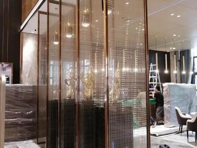 客厅定制玫瑰金不锈钢隔断屏风工装金属花格隔断厂家